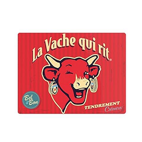 LVQR Diffusion 520108 Vintage Planche à Découper Motif La Vache qui Rit Grand Format Verre Rouge 40 x 30 cm