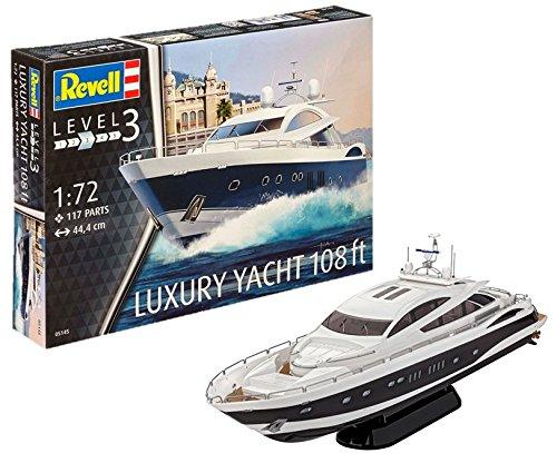 Revell Modellbausatz Schiff 1:72 - LUXURY YACHT 108 ft im Maßstab 1:72, Level 3, originalgetreue Nachbildung mit vielen Details, Luxusyacht, 05145