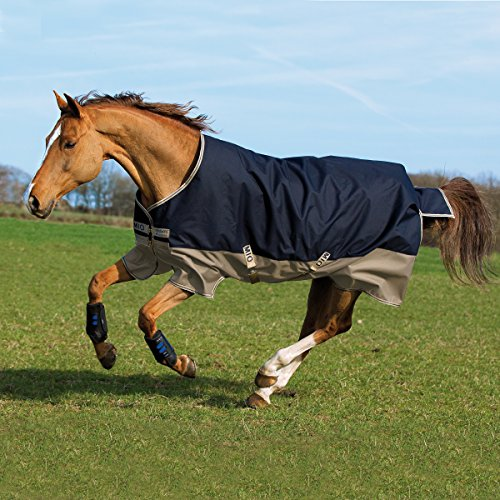 Horseware Amigo Mio Turnout Lite 0g - Navy & Tan with Navy - Weidedecke, Groesse:145