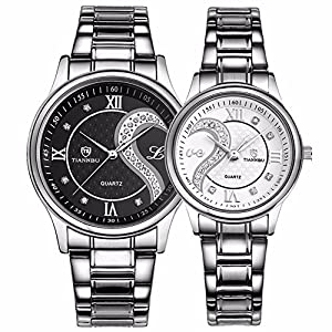 Fq-102 Stainless Steel Romantic Pair His and Hers Wrist Watches for Couples Men Women Set of 2 (Black&White)