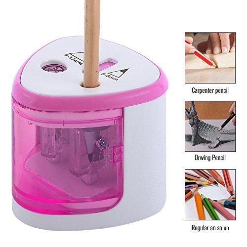 Automatischer Anspitzer Spitzer Elektrisch Batterieleistung Spitzmaschine mit Doppelspitzer für Kinder Schule Stifte von 6-8 mm und 9-12 mm (Pink)
