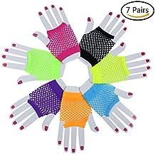37yimu 7Paar sortiert Farbe Fingerlose Fischnetz Handschuhe für Parteien Kostüme