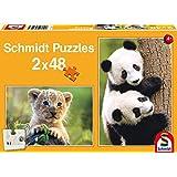 Schmidt-Spiele 56128 - Sweet baby animals - puzzle para niños 2 x 48 piezas
