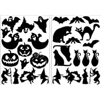 Halloween Stickers 2 x A5 Sticky Back Self Adhesive Pumpkin Witch Bat Decoration Mixed Black