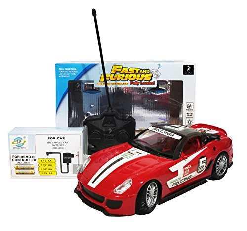Royal Fast & Furious 1:16 Radio Control Car with 4*AA Batteries and Charger for Car (Red California)