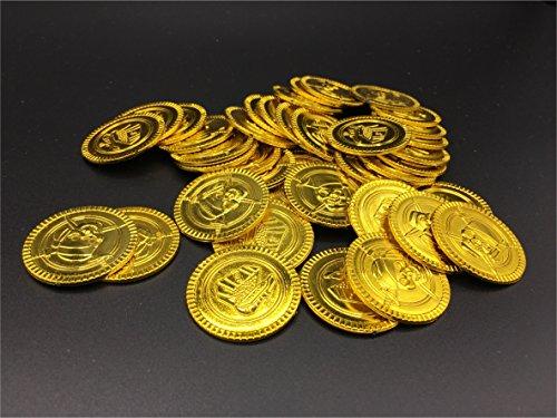 40x Stück Piraten Mitgebsel Gold Münzen / Spielgeld / Goldtaler / Gold Taler für Schatzsuche, Seeräuber, Piraten für Jungen und Mädchen / Kindergeburtstag / Party / Scherzartikel von (Piraten Junge)