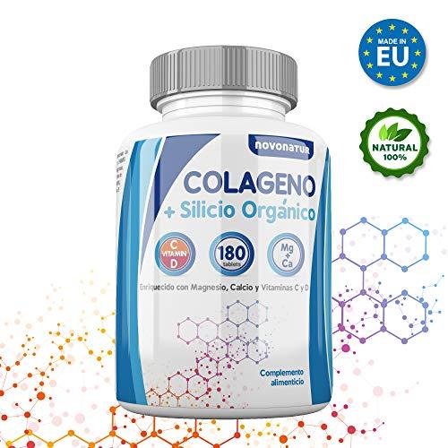 Collagene, collagene idrolizzato con magnesio, calcio, vitamina C e D, con silicio organico, protegge le ossa, le articolazioni, la pelle, le unghie e i capelli, 180 compresse, senza glutine. Novonatur.