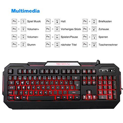 TEC.BEAN 7 Farben Beleuchtete Spiel Gaming Tastatur USB Verdrahtet, Schwarz - 3