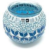 Orientalische Teelichtglas 100% Handgearbeitet 9x10cm Türkisch Windlicht Kerze Einzelstück Teelicht Rund Mosaik Glas Unikat Türkis