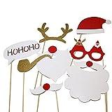 lzndeal 8 Pcs/set Accessoires Photobooth Masquerade Accessoires de Photos pour Noël Barbre Blanc, Bois du cerf, Chapeau Rouge etc