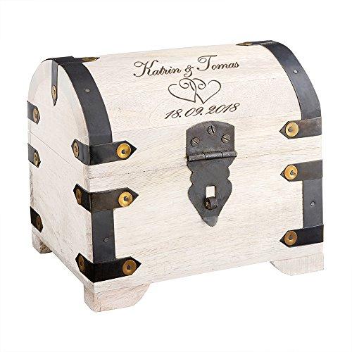 Casa Vivente Große Geld-Schatztruhe mit Gravur - Motiv Herzen - Personalisiert mit Namen und Datum - Schmuckkästchen aus weißem Holz - Verpackung für Geldgeschenke - Hochzeitsgeschenke für Brautpaar