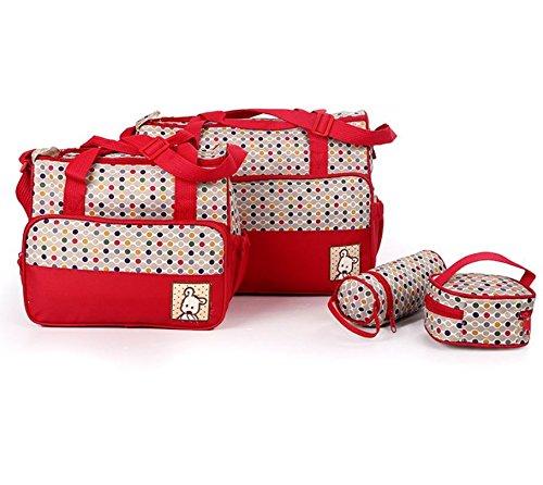 5pcs momia bebé pañal pañales cambiante maternidad Hospital bolsa Set por Babyhugs–rojo y puntos de colores