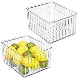 mDesign Set da 2 contenitori alimenti senza coperchio - Grande modello di contenitori in plastica per alimenti di ogni tipo - Contenitore frigo multiuso con aperture laterali - trasparente