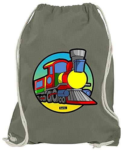 HARIZ Turnbeutel Eisenbahn TUT TUT Fahrzeuge Traktor Inkl. Geschenk Karte Olive Grün One Size - Couture Olive