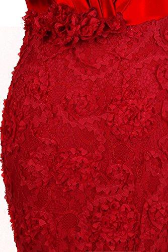 Angel-fashions Da donna Senza spalline Tesoro Rosa appliques Pieghe fusciacca Vestito da sposa Rosso