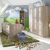 3-tlg Babyzimmer Eiche sägerau weiß Kleiderschrank Gitterbett Babybett Regal
