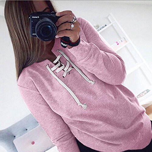 OverDose Femmes Tops Blouse Sport Occasionnels T-Shirt Automne Manches Longues Pull Lacets Rose