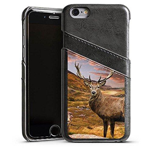 Apple iPhone 4 Housse Étui Silicone Coque Protection Cerf Paysage Prairie Étui en cuir gris