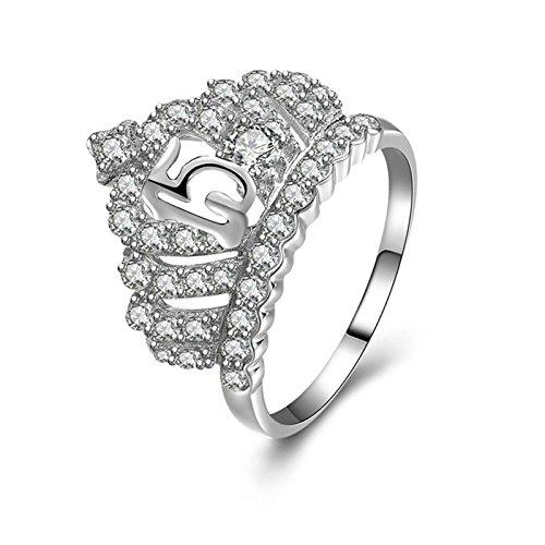 AmDxD Schmuck 925 Silber Verlobungsringe Damen Ringe Krone -