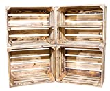 Vinterior DIY Set (4 Kisten) Gemischtes Paket Flambierte Holzkisten-Weinkisten/Regal aus geflammten Obstkisten mit Zwischenboden