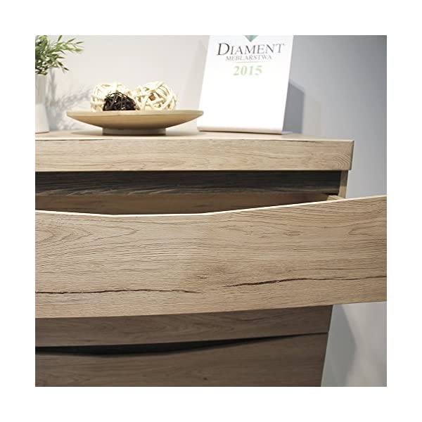 Furniture To Go 4 + 4 Wide Chest of Drawers, Oak, 125.7x39.9x83.8 cm Furniture To Go Laminated board (resistant to damage and scratches, moisture and high temperature) Oak finish with the contrasting dark trim Characteristic milled handles 5
