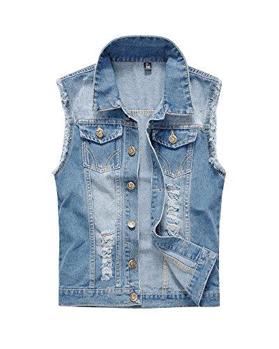 Uomo Strappato Denim Gilet Giacca Slim Jeans Giacca Senza Maniche Cappotti Giacca Azzurro Chiaro 4XL
