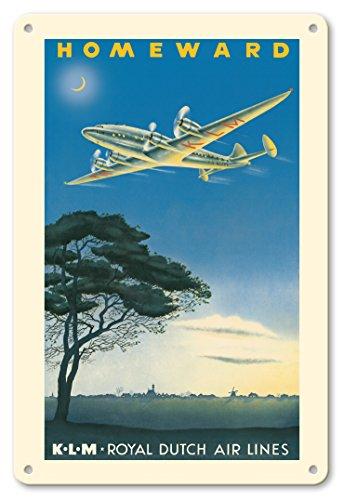 Pacifica Island Art 22cm x 30cm Vintage Metallschild - Heimwärts in die Niederlande - KLM (Koenigliche Fluggesellschaft) - Vintage Retro Fluggesellschaft Reise Plakat c.1944