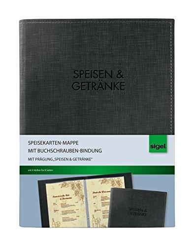 Sigel SM136 Speisekarten-Mappe mit Buchschrauben-Bindung für A5, schwarz - weitere Größen/Designs