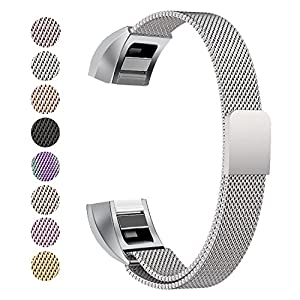 Fitbit Alta Strap, BeneStellar Milanese Stainless Steel Adjustable Replacement Accessory Straps for Fitbit Alta HR and Fitbit Alta (Silver)