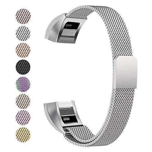 Fitbit Alta HR Armband, BeneStellar Milanese Edelstahl Uhrenarmband Mailänder Magnetschleife Edelstahlband Ersatz Armband Für Fitbit Alta HR und Alta (Silber)