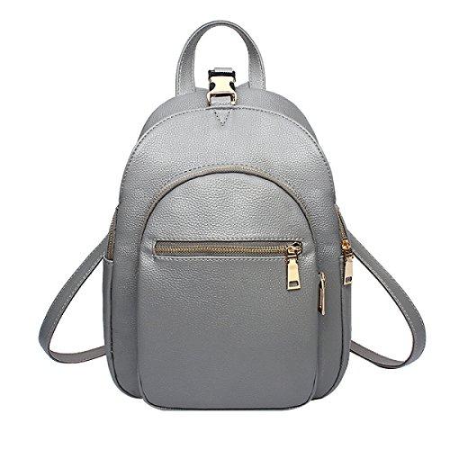 Donne PU Tutto-fiammifero Moda Impermeabile Individualità Comfort Zaino Borsa Grey
