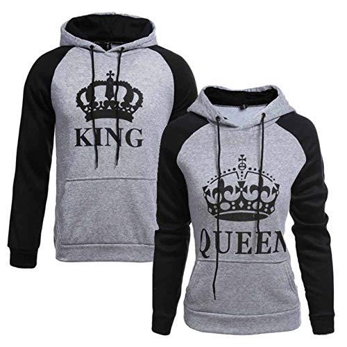 King Queen Passende Paar Pullover Hoodie Set Pärchen Sweatshirt Damen Herren Kapuzenpullover