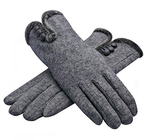 Outray warme Cashmere Winter Handschuhe Druckknopf Handschuhe Damen Fingerhandschuhe 4454C1 Grau