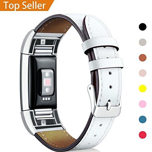 """Mornex Kompatibel Fitbit Charge 2 Armband, Echte Leder Armbänder, Unisex Ersatzband mit Metall Konnektoren(5,5\""""-8,1\""""), Weiß"""
