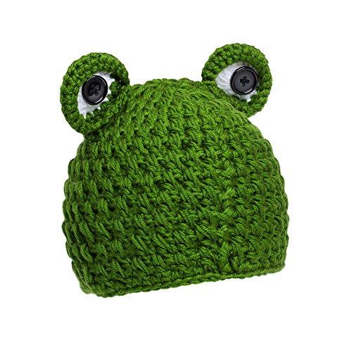 Gorro de bebé diseño rana   Gorro para bebé, niños 100% lana   Gorro para bebés unisex   Gorrito sombrero para bebé   Gorro de invierno para niños (rana)