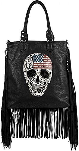 styleBREAKER Handtasche mit USA Design Totenkopf, schwarzem Strass und langen Fransen, Umhängetasche, Damen 02012064, Farbe:Schwarz (Leder Echte Usa Handtasche)
