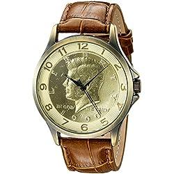 August Steiner Herren Armbanduhr Quarz mit Gold Zifferblatt Analog-Anzeige und braunem Lederband cn010yg