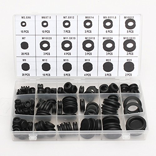 Mohoo 125 Stück 18 verschiedene Größen Gummitülle Sortiment O-Ring Unterlegscheiben (Sanitär-gummi-unterlegscheibe)