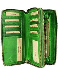 f8bae5e3c8961 Hill Burry hochwertige XXL Vintage Leder Damen Geldbörse Portemonnaie  langes Portmonee Geldbeutel Organizer aus weichem…