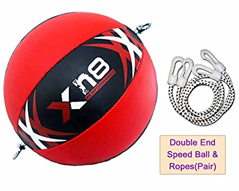 Double End SpeedBall Split Leather Red and Black Double End Dodge Ball MMA Punching Boxing Training Gel Martial Arts Floor to Ceiling Rope Workout (Ball + Ropes)