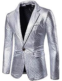 BOLAWOO Blazer da Uomo Blazer Corta Giacca Uomo da Tailleur Blazer da Mode  di Marca Uomo Blazer in Oro Argento Giacca da Un… 3ca8bd44e06