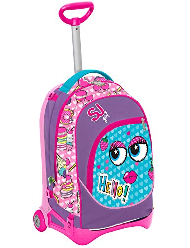 Seven s.p.a. trolley jack junior - sj faccine - giallo rosa - 28 lt sganciabile e lavabile - scuola e viaggio