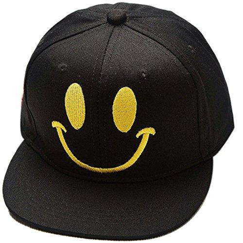 Jungen Smiley-gesicht (Belsen Kind Hip-Hop Smiley Gesicht Cap Baseball Kappe Hut (schwarz))
