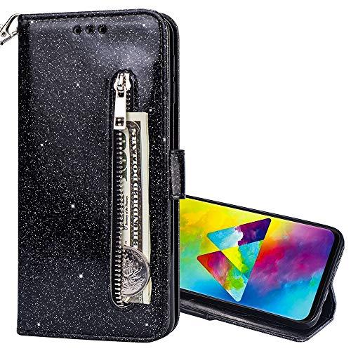 Nadoli Glitzer Handyhülle für Huawei Mate 10 Pro,Reißverschluss Kartentaschen Entwurf Hell Glänzen Magnetverschluss Flip Bling Schutzhülle Etui im Brieftasche-Stil für Huawei Mate 10 Pro