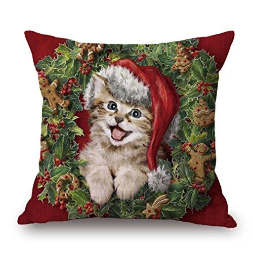 Kissen, honestyi Weihnachten Druck Färbe-Sofa Bett Home Decor Kissen Bezug Kissenbezug,, Flachs, 45cm * 45cm/45,7x 45,7cm (Kürbis Katze)
