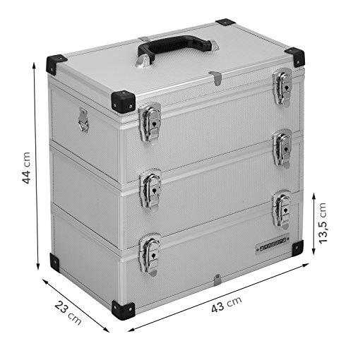 anndora® Werkzeugkoffer 32 Liter Angelkoffer Etagenkoffer 3 Ebenen Silber Alu - 8