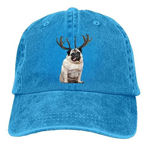 Hoklcvd Männer & Frauen Rentier Mops Hund Vintage Washed Gefärbte Baumwolle Einfarbig Baseballmütze Eine Größe ()