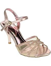 Aarz Mujeres del partido de tarde de las señoras novia de la boda Prom medio talón de Diamante de la sandalia tamaño de los zapatos (oro, plata, Champagne)