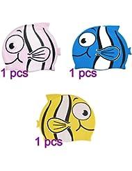 Silicona Cap Tinksky nadar Cap dibujos animados peces que nadan infantil en forma para niños y niñas (rosa celeste amarillo)