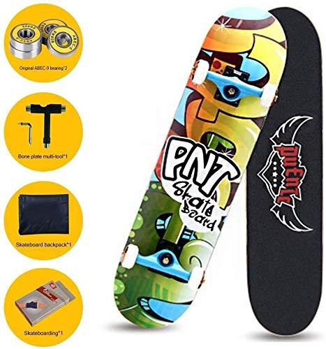 SCOOTER Longboard Standard Skateboards, 31.5 X 8.3Inch Komplett Skateboards mit 7-Schicht Maple Deck, Cruiser Skate-Brett for Kinder Jungen Jugendliche Anfänger (Color : A) -